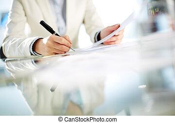 unterzeichnung, papier