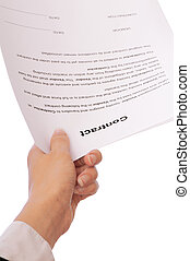 unterzeichnung, von, a, vertrag
