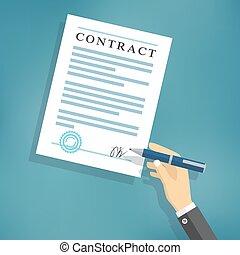 unterzeichnung, weißes, paper., vertrag, hand