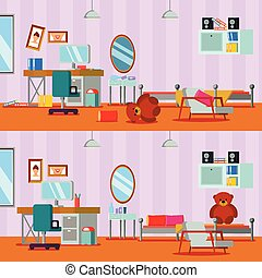 Untidy And Cleaned Teen Room - Untidy and cleaned teen room ...