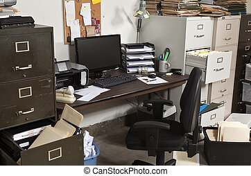 Untidy Office - Untidy office with messy file cabinets.
