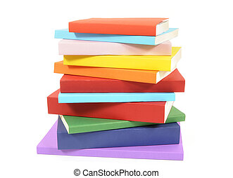 Untidy stack of colorful paperback books - Untidy stack or...