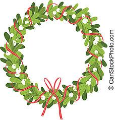 Untitled-1 - Mistletoe wreath isolated on white, vector...