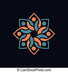 Untitled-1People Floral circle logo vector element. floral logo template