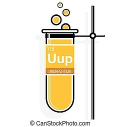 Ununpentium symbol on label in a yellow test tube with holder. Element number 115 of the Periodic Table of the Elements - Chemistry