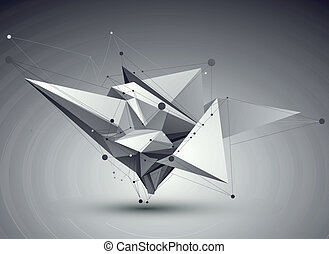 unus, ilustracja, abstrakcyjny, wektor, tech, perspektywa, geometryczny, 3d