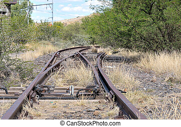 Unused railroad switch, also called turnout or points, next...