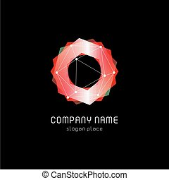 Unusual abstract geometric shapes vector logo. Circular, ...