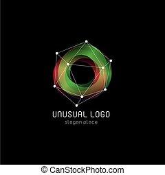 Unusual abstract geometric shapes vector logo. Circular,...