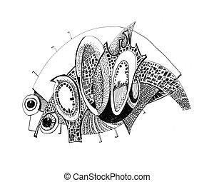 unusual abstract pencil drawing - armadillo