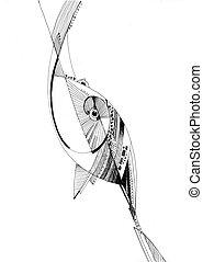 unusual abstract pencil drawing fish