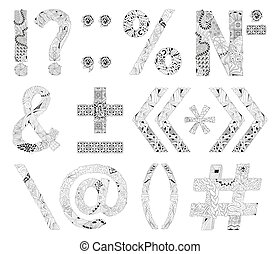 Hand-painted art design. Black and white hand drawn illustration alphabet. Part 6