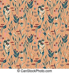 Unusual bright floral pattern with hand draw fantasy flowers. Vector background. Beige backdrop.
