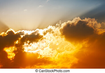 Unusual bright sunset with clouds