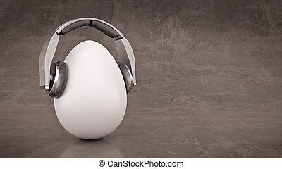Unusual cartoon egg in headphones.