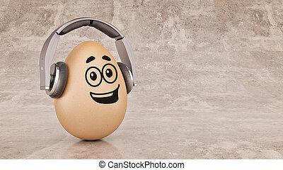 Unusual cartoon egg in headphones.