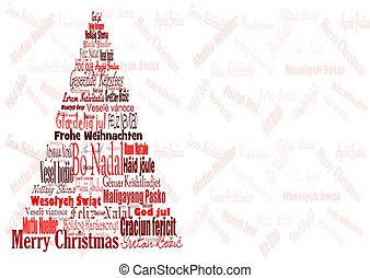 Unusual Christmas tree with signs of world languages