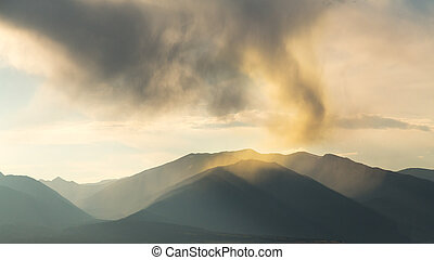 Unusual clouds over mountains of Colorado