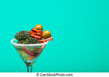 Unusual cocktail with meat and vegetables