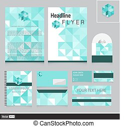 Unusual corporate identity with triangles for your company. ...
