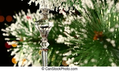 Unusual decoration - a crystalline toy on christmas tree,...