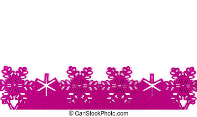 Unusual design christmas background with pink snowflakes and copy space on white background