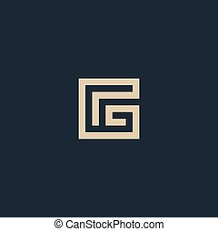 Unusual geometric letter G. Architecture vector logo. ...
