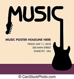 Unusual guitar poster, ideal for music gig announcements...