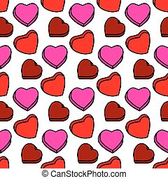 Unusual Hand Drawing Doodled Pattern with Colorful Romantic Hearts.