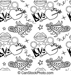 Unusual Hand Drawing Doodled Pattern with Festive Elements.