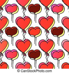 Pattern with Romantic Balloons.