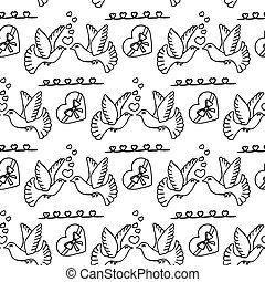 Unusual Hand Drawing Doodled Pattern with Romantic Carrier Pigeon.