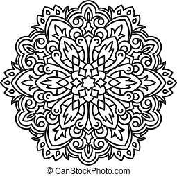 Unusual, hexagonal, lace frame, decorative element with empty place for your text. Vector illustration.
