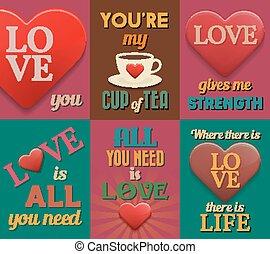 Unusual inspirational love posters. Set 1. Vector...