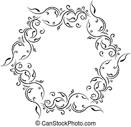 Unusual lace floral frame, decorative element with empty place for your text. Vector illustration.