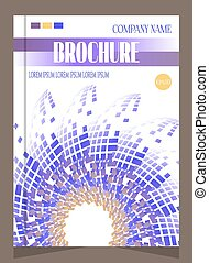 Unusual, modern brochure, template design with violet flower, pattern, text
