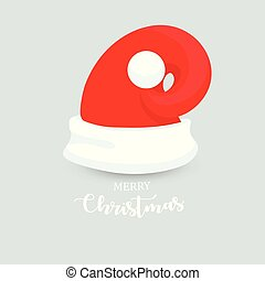 Unusual Modern Santa Claus Hat With Christmas lettering. New Year Red Hat Isolated. Winter Cap. Christmas Holiday Photo Card Decoration. Vector illustration.