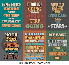 Unusual motivational and inspirational quotes posters. Set 1. Vector illustration