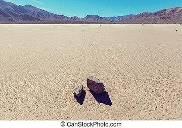 Racetrack Playa - Unusual moving rocks. Racetrack Playa at...