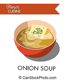 French onion soup with croutons and cheese vector ...