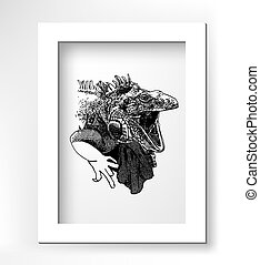 unusual original artwork of iguana lizard with mouth open