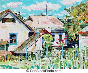 unusual original oil painting on canvas, modern impressionism, ukraine