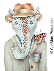unusual original pencil drawing of hipster fantastic animal...