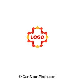 Unusual red vector cross. Abstract medical logo.
