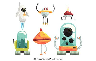 Unusual robots in the style of aliens. Vector illustration.