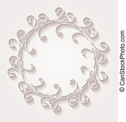 Unusual round vintage floral frame for your design with shadow. Vector illustration in light gentle tones.
