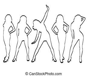 Unusual silhouettes of girls .