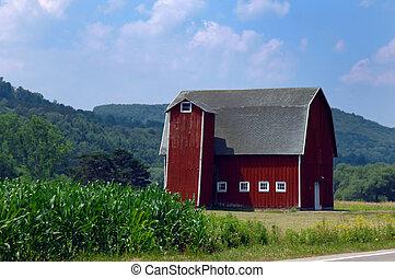 Unusual Square Silo - Rustic red, wooden barn has unusual ...