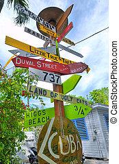Unusual street marker Key West - Colorful and strange street...
