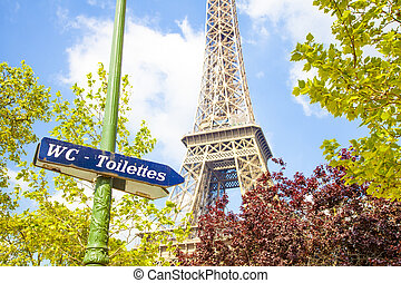 Unusual view of Eiffel Tower, Paris